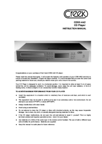 To view the document Creek-audio CD50 mk2 User Manual